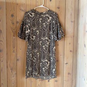 H&M Tan & Dark Grey Paisley Dress